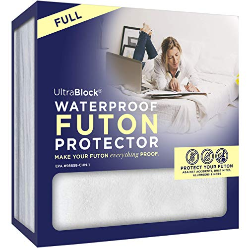 UltraBlock Futon Cover - Washable, Waterproof, Soft Cotton Full Futon Mattress Cover, White