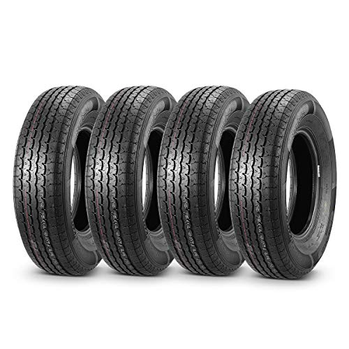 MaxAuto 4 Pcs Trailer Tires ST205/75R14 Steel Belted Radial 8 Ply Load Range D