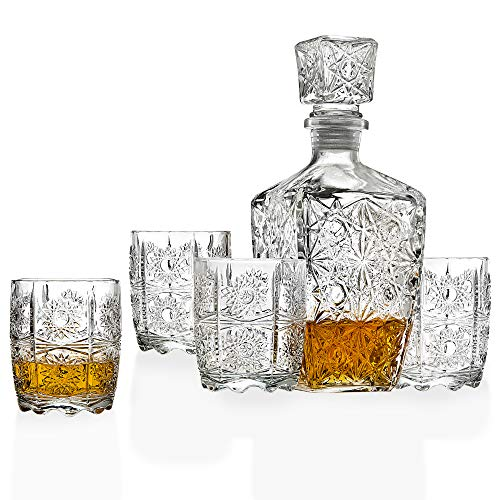Five Piece Whiskey Decanter and Glasses Set