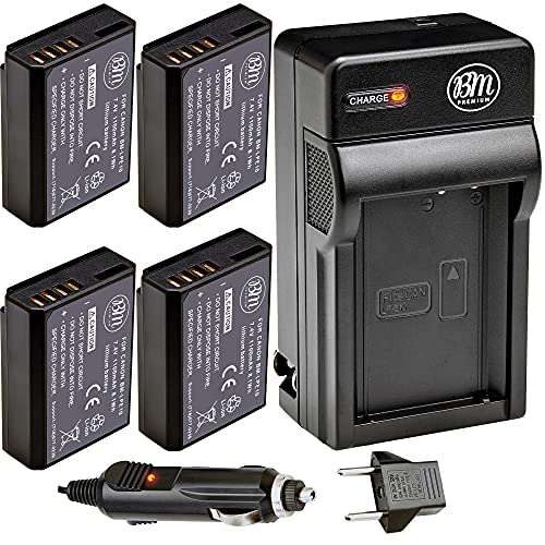 BM Premium 4 Pack of LP-E10 Batteries and Battery Charger for Canon EOS Rebel T3, T5, T6, T7, Kiss X50, Kiss X70, EOS 1100D, EOS 1200D, EOS 1300D, EOS 2000D Digital Cameras