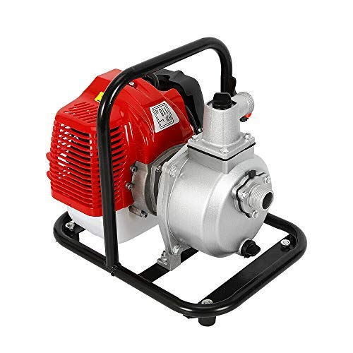 DiLiBee Bomba de Agua de Gasolina de 1 - Motor de 2 Tiempos, Bomba de Motor 43cc 1.7hp para riego Bomba de Alta presión de Transferencia de Agua de Gasolina para Camping