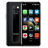 Mini Smartphone 3.5 Pulgadas HD Pantalla 4G Dual SIM Teléfono Móvil Android OS 9.0 Quad-core GPS Desbloqueado Teléfono Celular 3GB+32GB(negro)