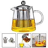 Teekanne Glas Teebereiter 450 ml PLUIESOLEIL mit Abnehmbare Edelstahl-Sieb (Runde 450ML)