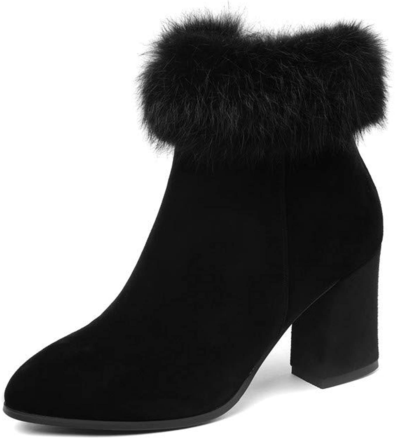 Nine Seven Women's Suede Leather Round Toe Chunky Heel Handmade Comfortable Winter Fur Side Zipper Ankle Boots