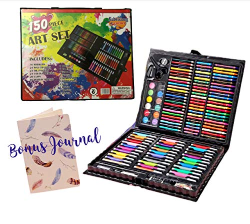 151 Pcs Kids Art Set for Sketching, Drawing, Coloring and Painting with Bonus Journal Notebook, Mixed Media Art Supply Great Gift for Children.