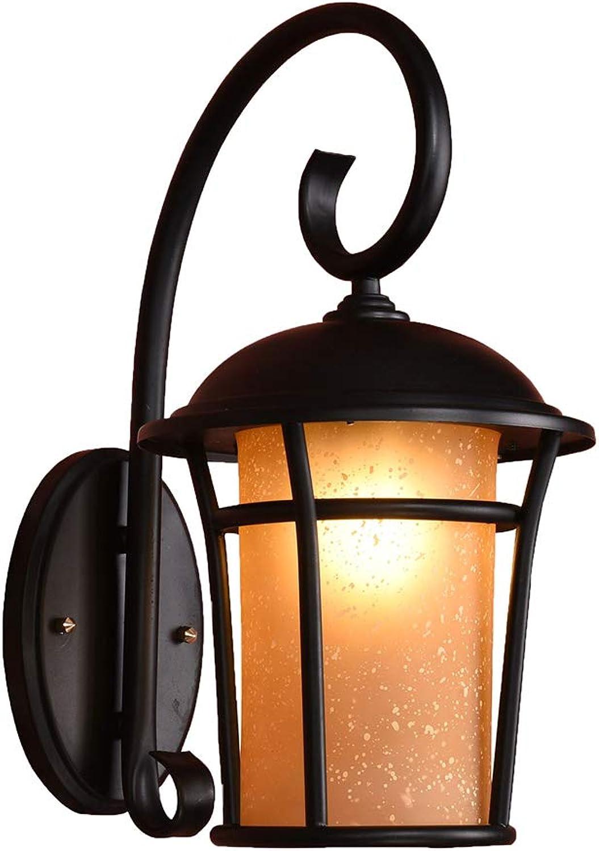 MIAOLEIE Aplique de Exterior Lámpara de Parojo para Exteriores Wall Lamp Empotrado Wall Light IP65 con 1 x 12w Bombilla LED E27,28.5 cm, Color Negro,Farol pequeo de Parojo jardín
