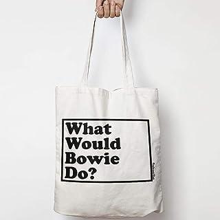 WHAT WOULD DAVID BOWIE DO? WWYD tote bag in tela di cotone naturale NEI COLORI NATURALE O NERO
