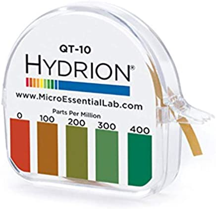 MICRO ESSENTIAL LABORATORY QT-10 Plastic Hydrion Low Range Quat Check Test Paper Dispenser, Single Roll, Food Service Test Strips, 0-400ppm