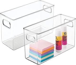 mDesign boîte de Rangement pour Bureau et tiroir (Lot de 2) – Rangement Bureau Amovible en Plastique avec poignées – Organ...