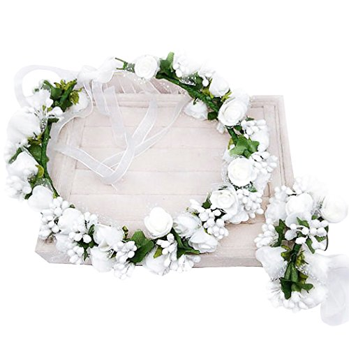 dressfan Flower Garland Headband Flower Wrist Wedding Bride Bridal Bridemaid Girls Headwear Adjustable White