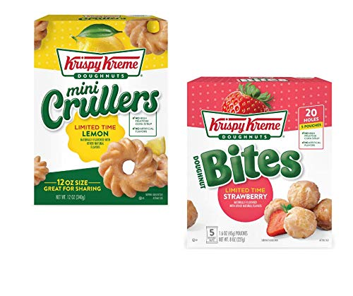Krispy Kreme Doughnuts Bites (Strawberry) and Mini Crullers (Lemon)