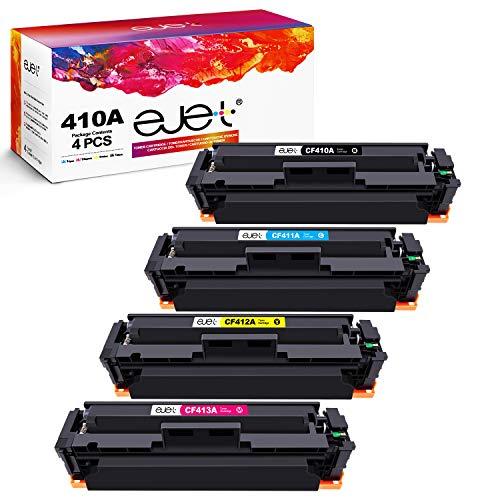 ejet 410A Tonerkartusche Kompatibel für HP 410A 410X CF410A CF410X für HP Color Laserjet Pro M477fdw M477fnw M477fdn M452nw M377dw M452dn M452dw Drucker (Schwarz Cyan Magenta Gelb, 4er-Pack)