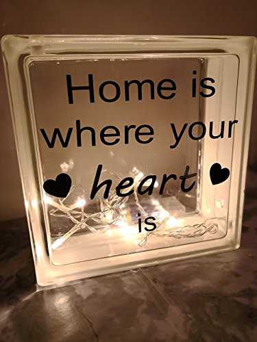 Beleuchteter Glasbaustein *Home is where your heart is* 19 x 19 x 8 cm