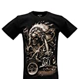 ROCK Camiseta Unisex Chang Mujer en algodón Estampado a Efecto de luz en la Oscuridad (Motocycle and Indian Skull GR-248 M)