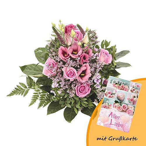 """Dominik Blumen und Pflanzen, Blumenstrauß, Blütenzauber, mehrfarbig, 40 x 25 x 25 cm und Grußkarte """"Alles Liebe"""""""
