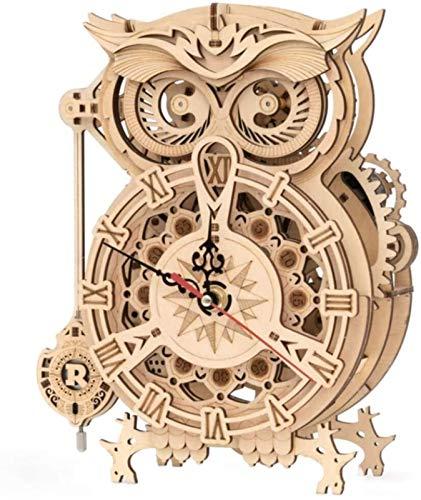 TXXM Juego de reloj de madera 3D con diseño de búho, juguete de montaje de bricolaje, juguete educativo para niños, adolescentes y adultos.