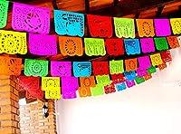 Cinco de Mayoパーティー装飾、Papel Picadoバナー、50ft長い、マルチカラーティッシュペーパーガーランド、メキシコ装飾、結婚式、Quinceaneras、誕生日、フィエスタパーティーSupplies、5de Mayo ws100