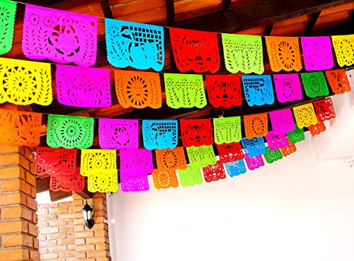 5 Pk Fiesta Party Decorations, Papel Picado Banner 60 ft total, Cinco de Mayo tissue PAPER garland, Mexican theme party supplies for Weddings, Birthdays, Taco Mexican Paper Flags Paper Picado WS100