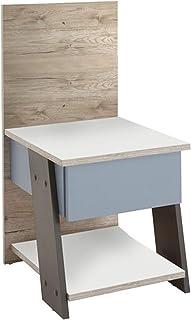 PEGANE Table de Chevet/Table de Nuit Enfant Finition chêne Sable/Blanc/Lava/Denim - L.34 x H.69,5 x P.39 cm