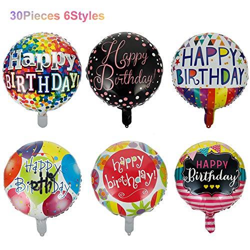 Rubywoo&chili 30 Stück Geburtstags Luftballon Happy Birthday,Bunter Folien-Luftballon,Geburtstagsballon für Geburtstag, Mädchen Jungen Kindergeburtstag, Party, Dekoration, DIY Geburtstagsfeier
