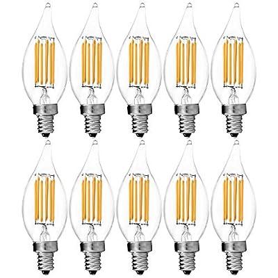 Luxrite Filament LED Candle Bulb, 6W (60W Equivalent), 2700K Warm White, 650 Lumens, LED Edison Chandelier Bulb, UL Listed, Flame Tip, LED E12 Base