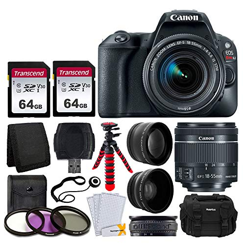 "Canon EOS Rebel SL2 Digital SLR Camera + EF-S 18-55mm f/4-5.6 IS STM Lens + 58mm Wide Angle & Telephoto Lens + 2x 64GB Memory Card + DC59 Gadget Bag + 12"" Flexible Tripod + UV Filter Kit + Accessories"