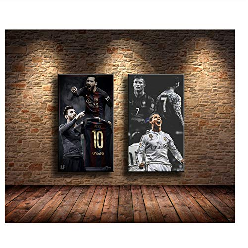 Suuyar Lionel Messi, Cristiano Ronaldo Gemälde Druck auf Leinwand HD Leinwand Malerei Büro Wandkunst Home Decor Wandbilder-60x90cmX2Pcs No Frame