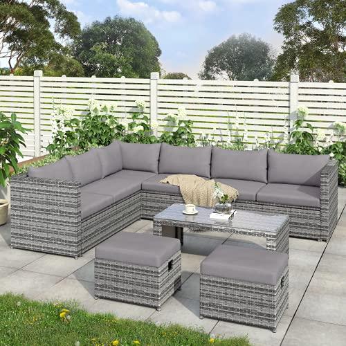 Juego de muebles de jardín de ratán, sofá esquinero de 8 plazas, juego de sofás de mesa de centro y 2 taburetes (gris)