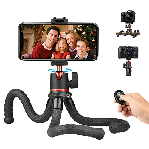 Flexible Phone Tripod Camera Travel Tripod Stand with Bluetooth Remote Control and Universal Phone Holder with Cold Shoe Mount 360° Rotating Selfie Stick Tripod for All Cameras/iPhone/Android