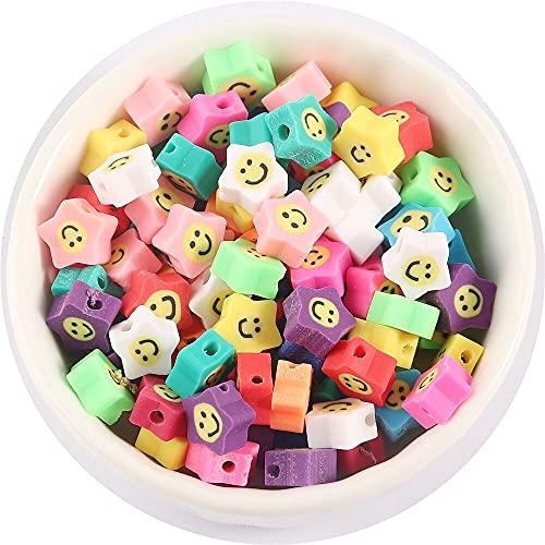 Gsgmz 50 cuentas de arcilla con espaciador de flores de frutas de 10 mm para hacer joyas hechas a mano para hacer pulseras y collares, anillos de accesorios (sonrisa de 11 estrellas)