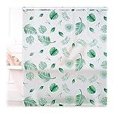 Relaxdays Estor de Ducha Enrollable (140 x 240 cm, para Ducha y bañera, Impermeable, Techo y Ventana), diseño de Hojas, Color Blanco y Verde