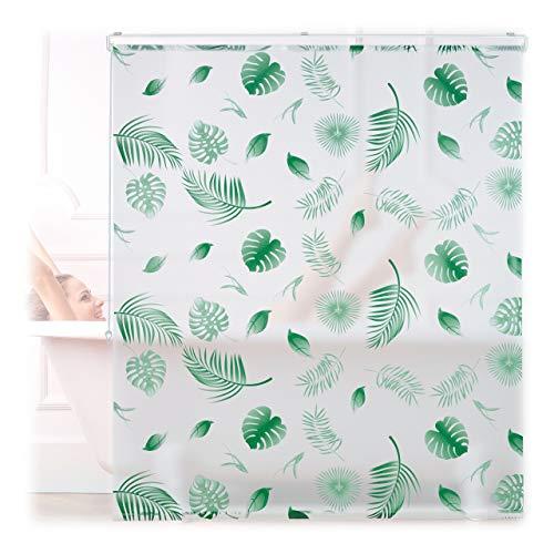 Relaxdays Duschrollo Blätter, 140x240cm, Seilzugrollo f. Dusche & Badewanne, wasserabweisend, Decke & Fenster, weiß/grün