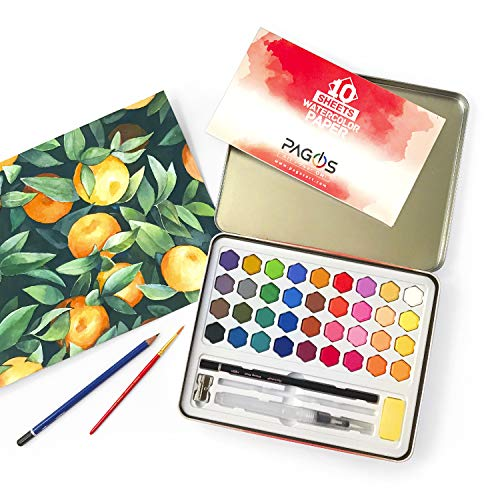 Pagos Watercolor Paint Set Art Kit of 36 Vivid Colors w 10 Sheets Water Color Paper Refillable Brush, Sponge, Drawing Pencil, Brush, Gift Set for Adults Kids Beginners Artists Students