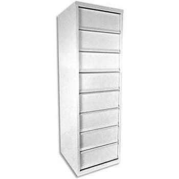 Meuble A Clapets 8 Cases En Metal Blanc Dimensions L40 X H126 X P40 Cm Amazon Fr Fournitures De Bureau