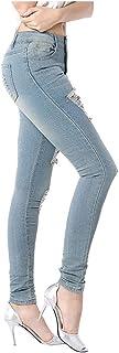 AOGOTO - Pantaloni da donna a vita alta, con tasca in denim