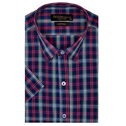 ACCOX Men's Half Sleeves Regular Fit Cotton Formal Checkred Shirts(GCR10)