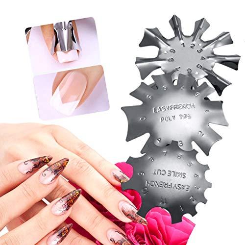 3 UNIDS/Set Duradero Metal Acero Inoxidable Manicura Francesa Modelado de Placas de Cristal Clavo Fabricación de Placas de Estampación