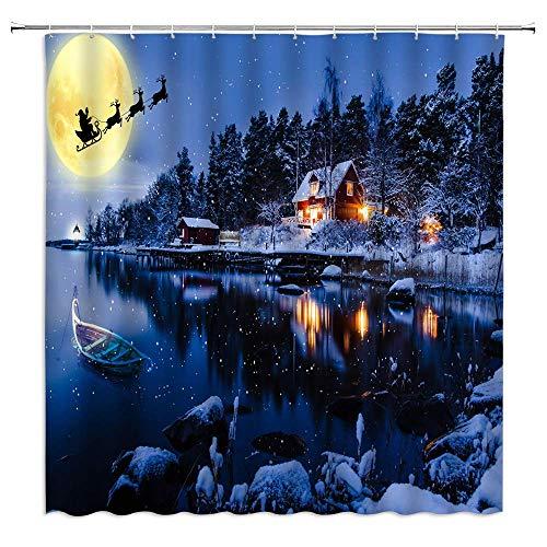 Not Applicable Frohe Weihnachten Duschvorhang Traum Wald Blockhaus Boot See Santa Blue Badezimmer Vorhänge Dekor Polyester Stoff wasserdicht 60 x 72 Zoll enthalten Haken