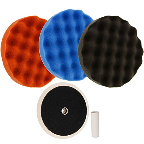 "TCP Global Complete 3 Pad Buffing and Polishing Kit with 3-8"" Waffle Foam Grip Pads and a 5/8"" Threaded Polisher Grip Backing Plate"