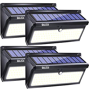 BAXIA TECHNOLOGY Solar Lights Outdoor Wireless 100 LED Solar Motion Sensor Lights Waterproof Security Wall Lighting Outside for Front Door Backyard Steps Garage Garden  2000LM 4PACK