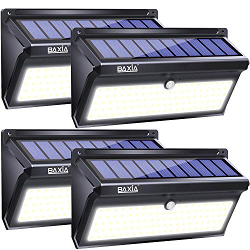 BAXIA TECHNOLOGY Solar Lights Outdoor, Wireless 100 LED Solar Motion Sensor Lights Waterproof Security Wall Lighting Outside for Front Door, Backyard, Steps, Garage, Garden (2000LM, 4PACK)