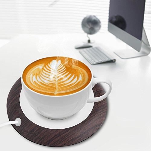 Oumij Cuscinetto del Riscaldatore del caffè del tè Cuscinetto del Riscaldatore della Tazza di Bevanda di Calore dello Scaldabagno di Legno USB USB Pad (Grano di Legno di Noce Scuro)