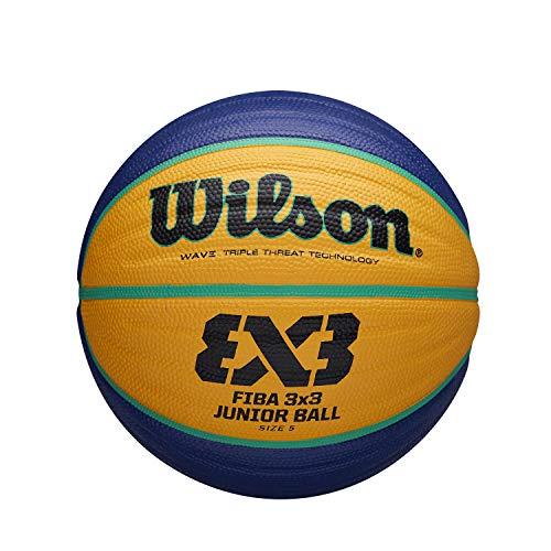 Wilson Pelota de Baloncesto Fiba 3X3 Replica Junior, Tamaño: 65 Goma, para Uso en Interiores y Exteriores, Amarillo/Azul, WTB1133XB