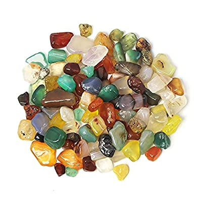 Cicidorai Mixed Natural Tumbled Gem Crushed Rock, Flower Pot Fish Tank Decorative Stone, Indoor Outdoor Decor Stones About 450g/ 460Pcs/ Box (Assorted Stones)