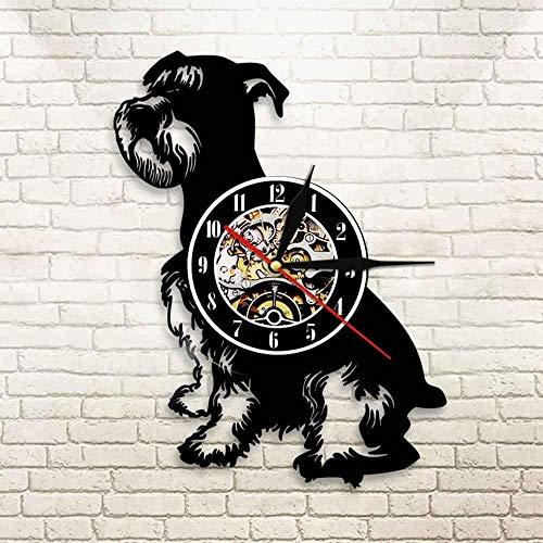 szhao Reloj de Pared con Registro de Vinilo Vintage para Perro Schnauzer, Reloj de Pulsera de 12 Pulgadas, Animal, Mascota, Cachorro, decoración Moderna del hogar