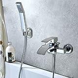Grifo monomando para bañera de cascada de pared, con alcachofa de ducha extractiblegrifo de baño con 2 agujeros fríos calientes ajustables para cuarto de baño