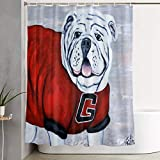 MATEKULI Waterproof Polyester Shower Curtain,Georgia Bulldogs Mascot UGA X Katie Phillips,Cloth Fabric Bathroom Decor Set with Hooks,180 x 180 cm