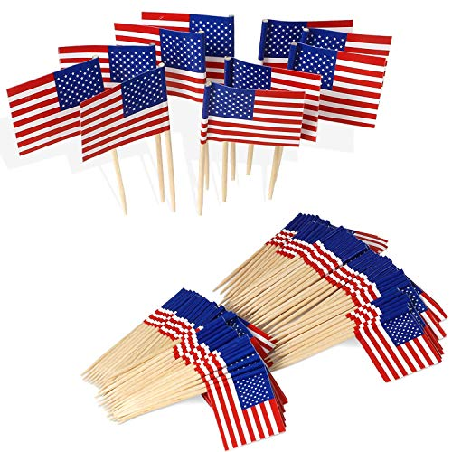 Anley US Flag Toothpick Flag - Vivid Double Sides Print, Smooth Solid Pick - Party Decoration Cocktail Fruit Stick Toothpicks Cupcakes Toppers (100 pcs)