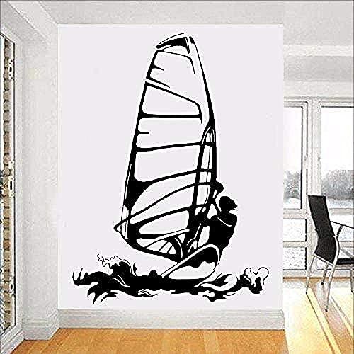 Pegatina De Pared De Pvc Extraíble Pegatina De Pared Surf Windsurf Kitesurf Deportes Acuáticos Decoración Interior Del Hogar Cartel 79X57Cm