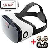 VR Headset - Virtual Reality Goggles by VR WEAR 3D VR Glasses for iPhone 6/7/8/Plus/X & S6/S7/S8/S9/Plus/Note and Other Android Smartphones with 4.5-6.5' Screens + Digital Sticker